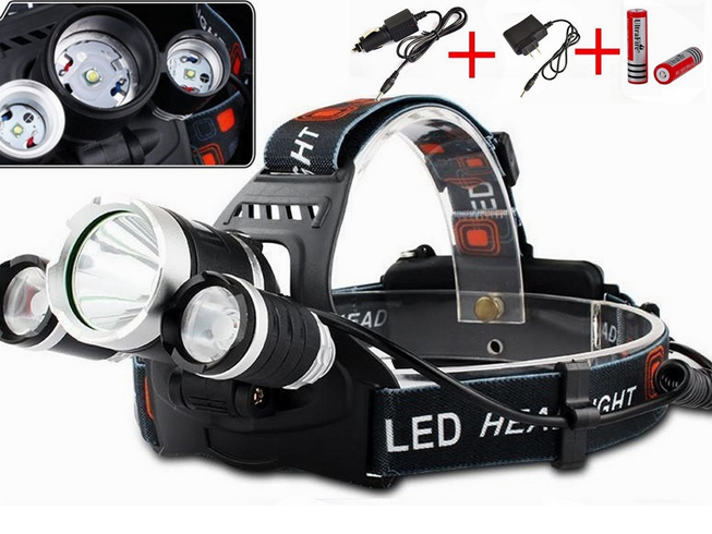 5000LM 3x XM-L T6 LED Headlamp HeadLight + Battery + Car lader