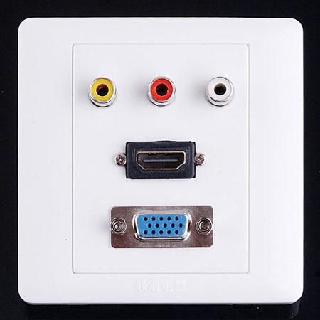 1 x HDMI 1 x VGA 3 x AV Wall Plate Coupler Socket